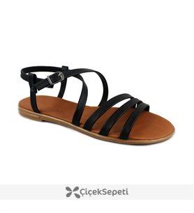 Siyah Renk Bilek Bağlı Tokalı Bayan Sandalet 8296