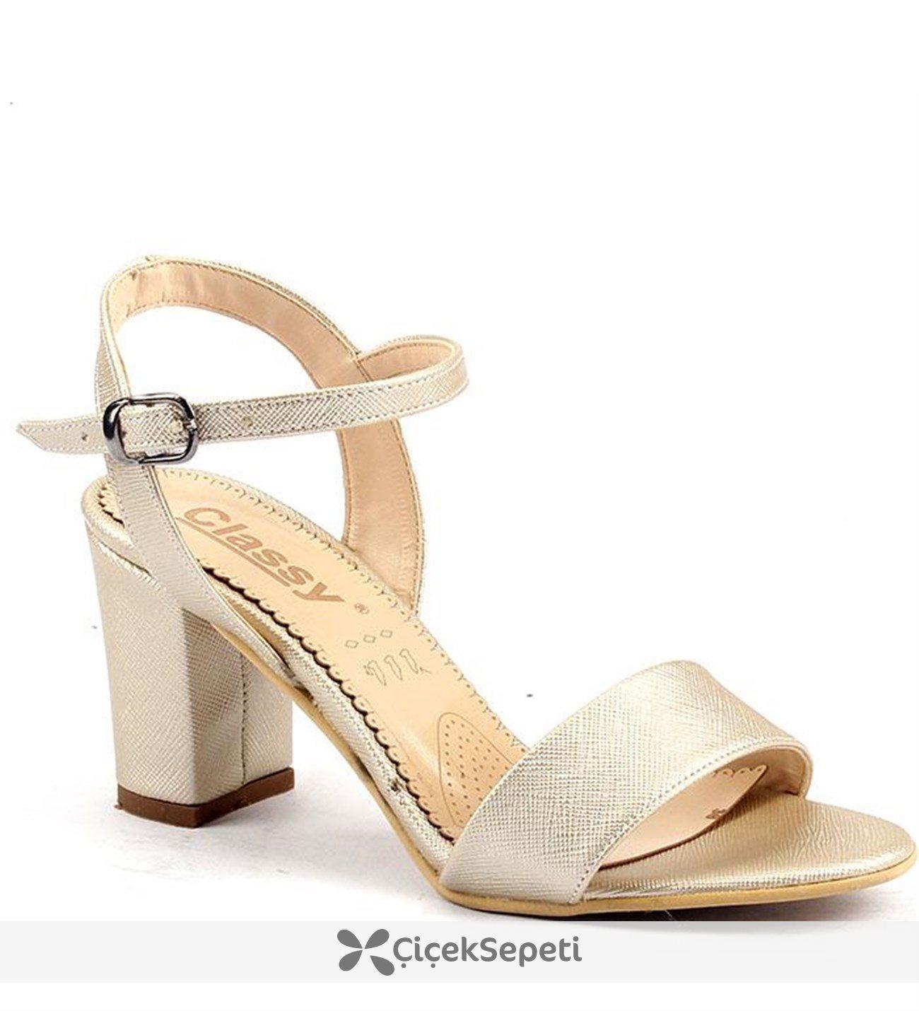 Classy 233 Günlük 75 Cm Topuklu Sandalet Bayan Cilt Ayakkabı