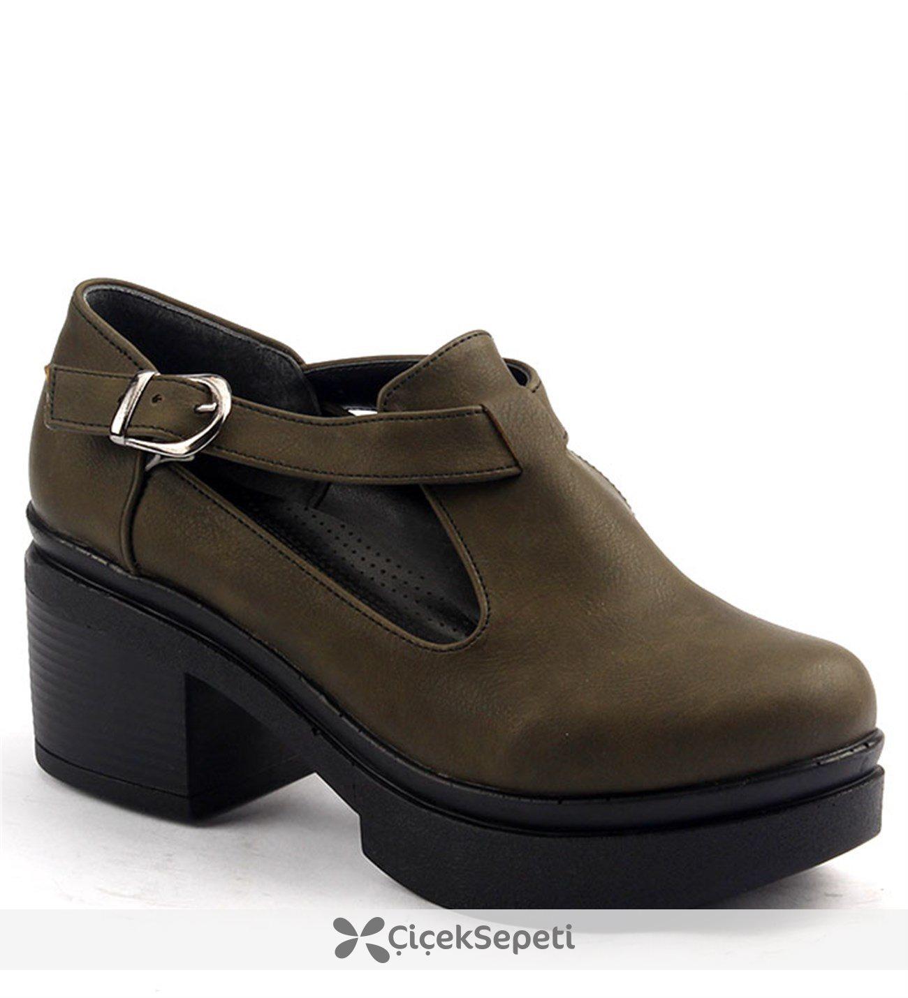 Ayakland 501.2 Günlük 6cm Kalın Topuk Bayan Ayakkabı