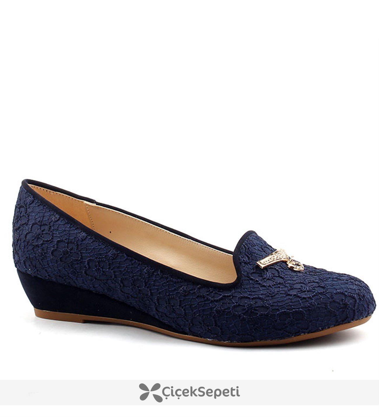 Christina 3403 Lacivert Büyük Numara Bayan Ayakkabı Abiye Gelin