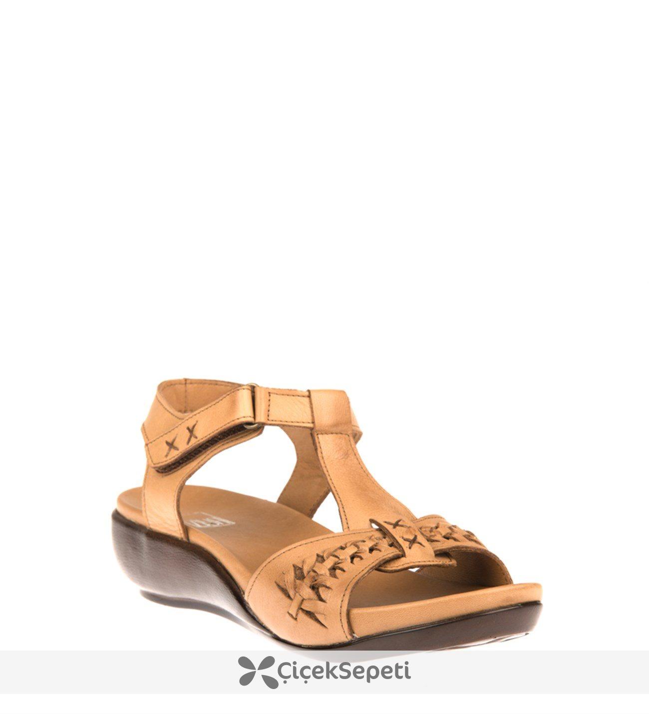 Ziya Kadın Hakiki Deri Sandalet 8176 6129 Taba