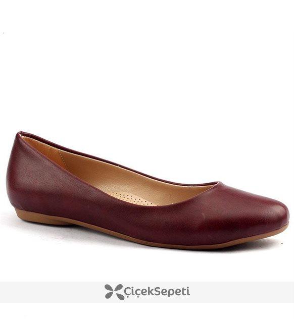Alens 45 Büyük Numara Günlük Yürüyüş Bayan Babet Ayakkabı Bordo