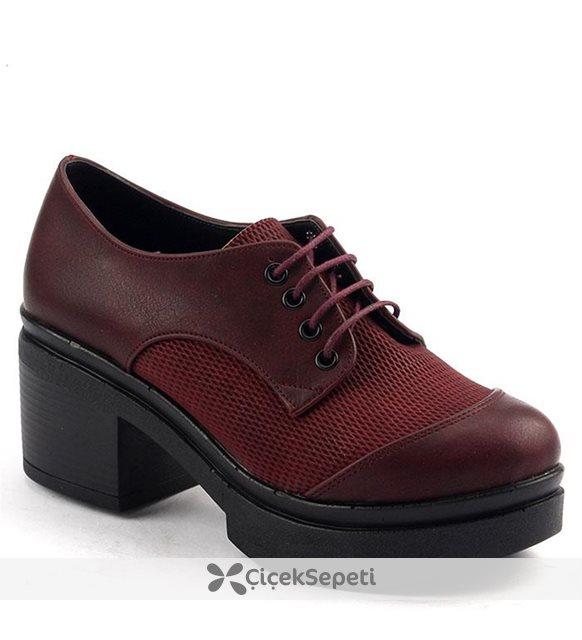 Ayakland 503 Günlük 6cm Kalın Topuk Bayan Bağcıklı Ayakkabı