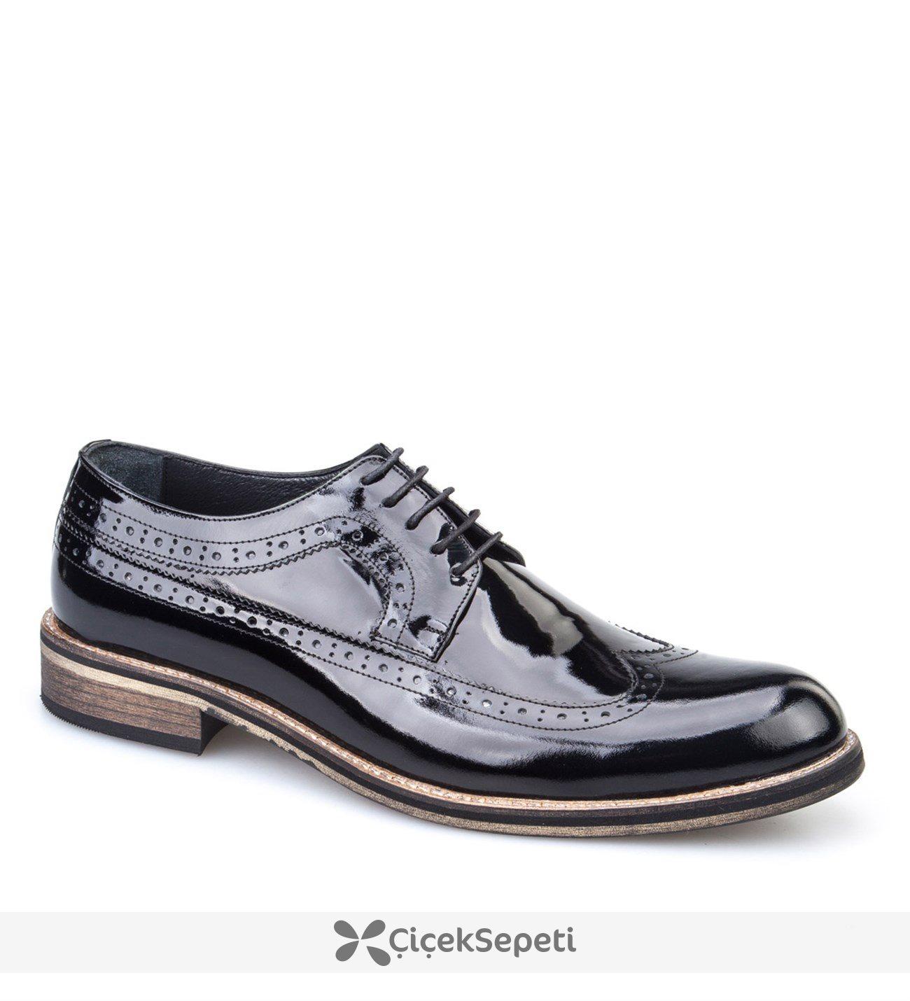 Cabani Erkek Ayakkabı Siyah Açma Deri