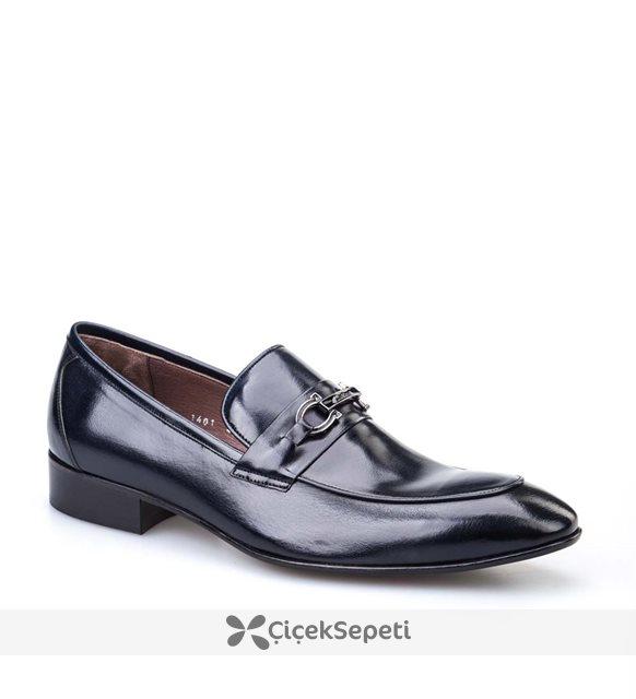 Cabani Tokalı Klasik Erkek Ayakkabı Lacivert Buffalo Deri