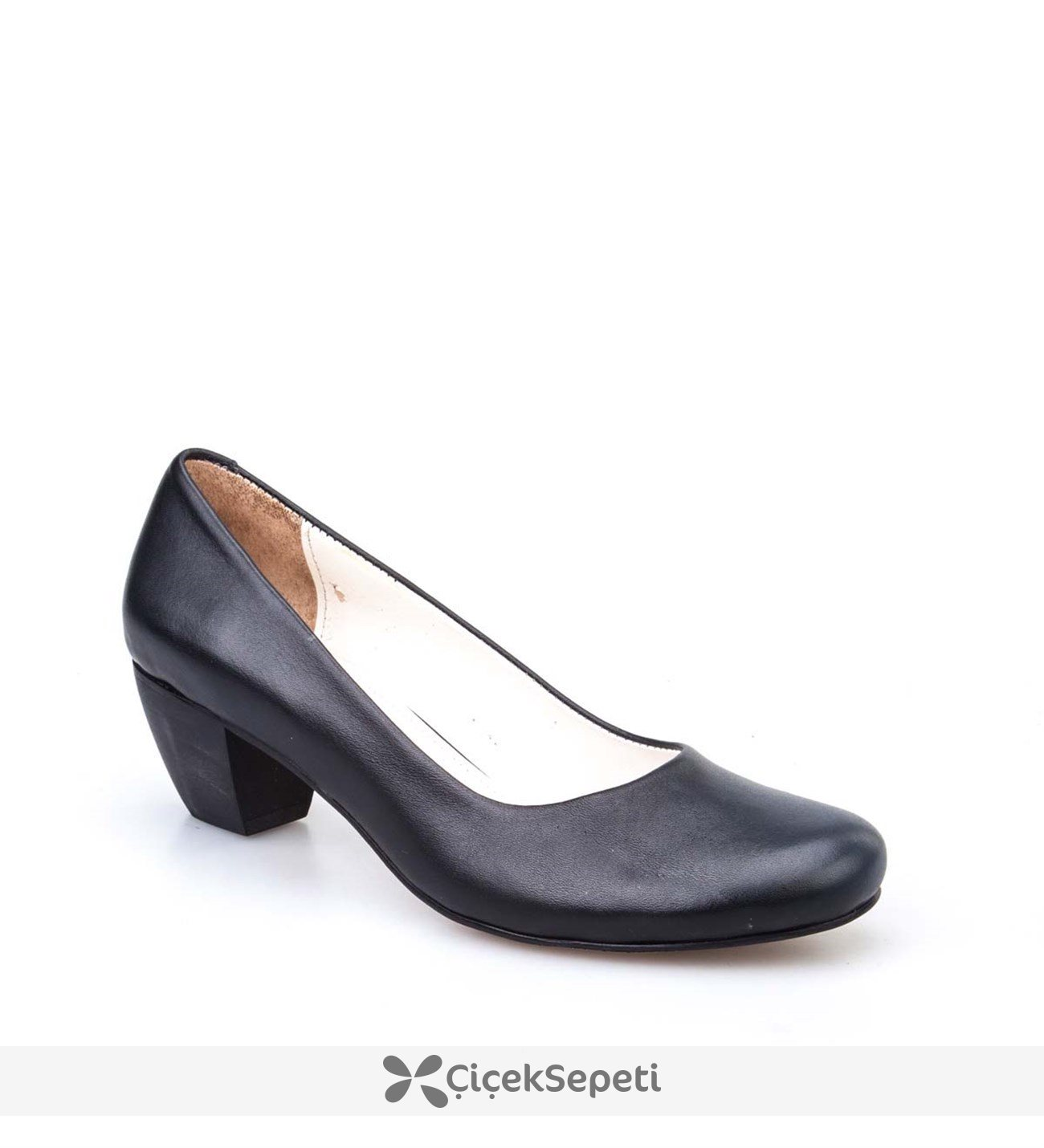 Cabani Kısa Topuklu Comfort Kadın Ayakkabı Siyah Deri