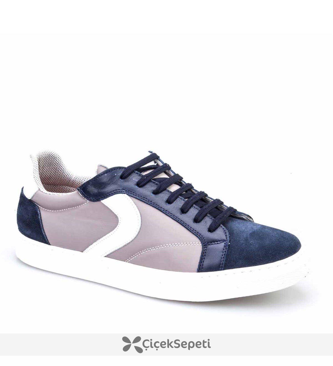 Cabani Bağcıklı Sneaker Erkek Ayakkabı Lacivert Süet
