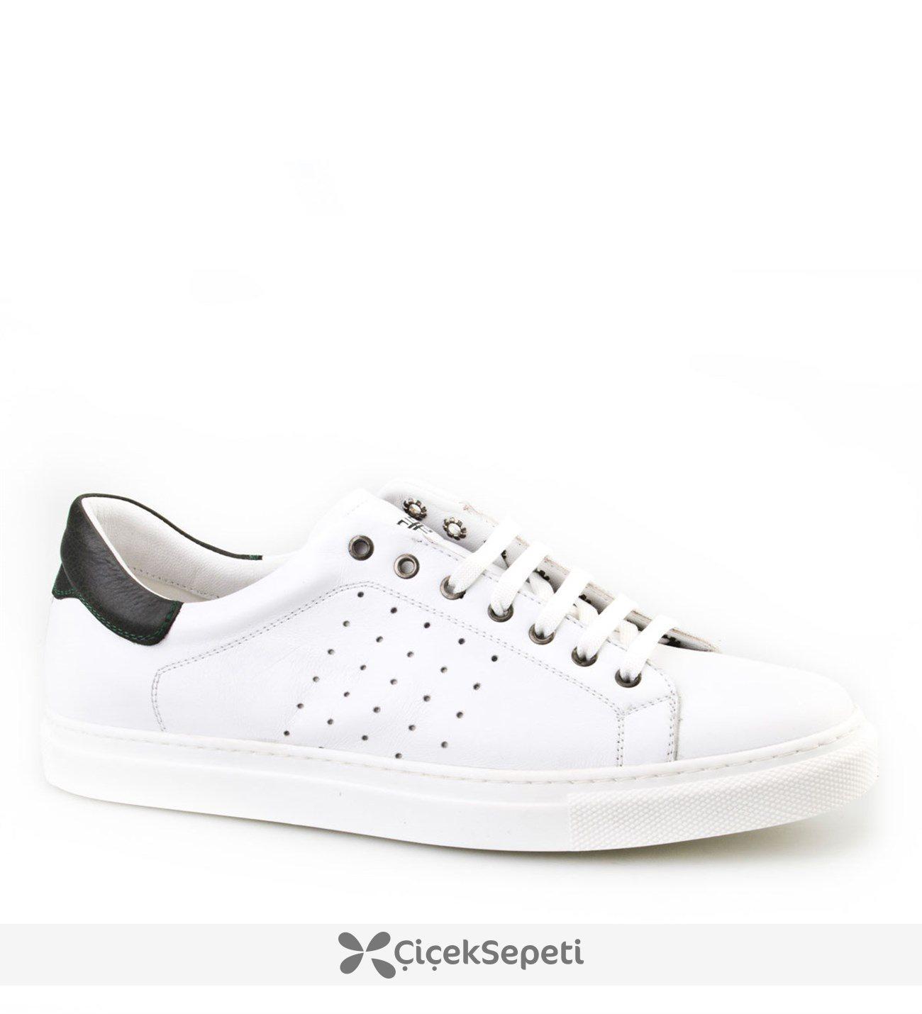 Cabani Bağcıklı Günlük Erkek Ayakkabı Beyaz Napa Deri