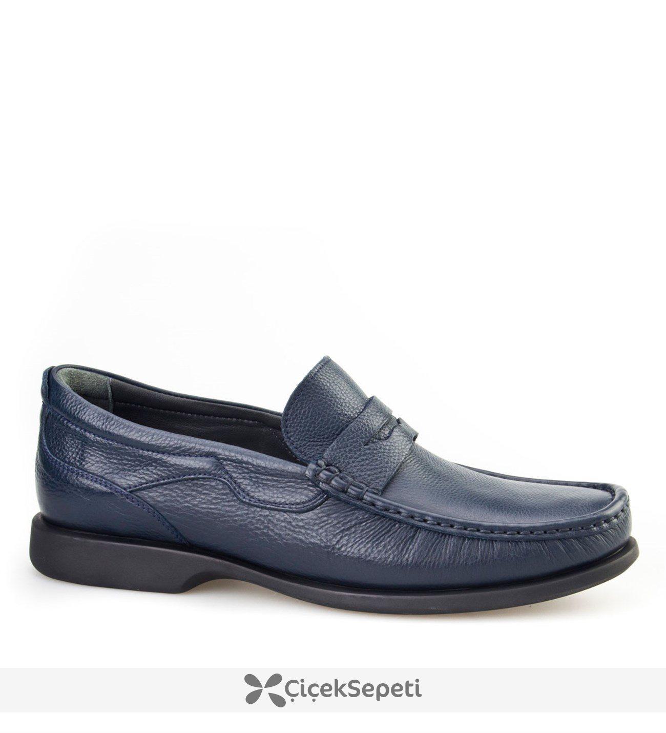 Cabani Şok Emici Tabanlı Günlük Erkek Ayakkabı Lacivert Floter Deri