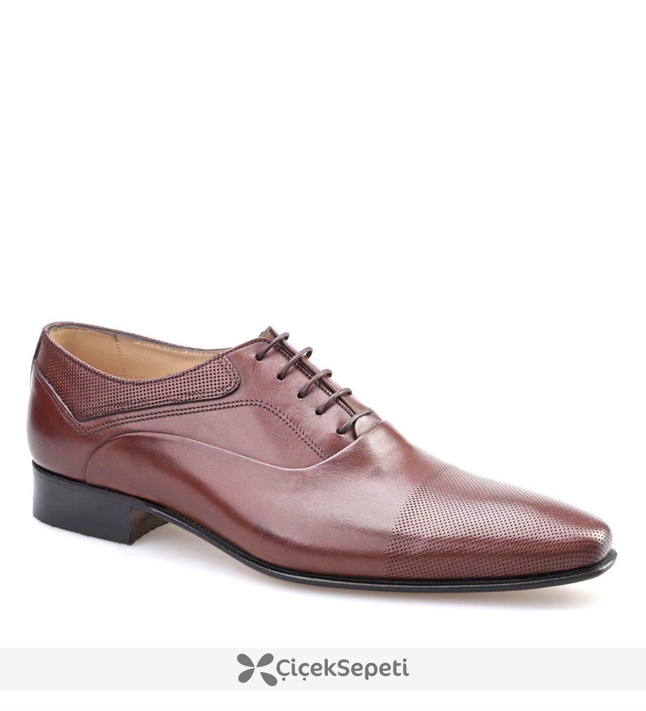N.O. Lazerli Klasik Erkek Ayakkabı Kahve Antik Deri