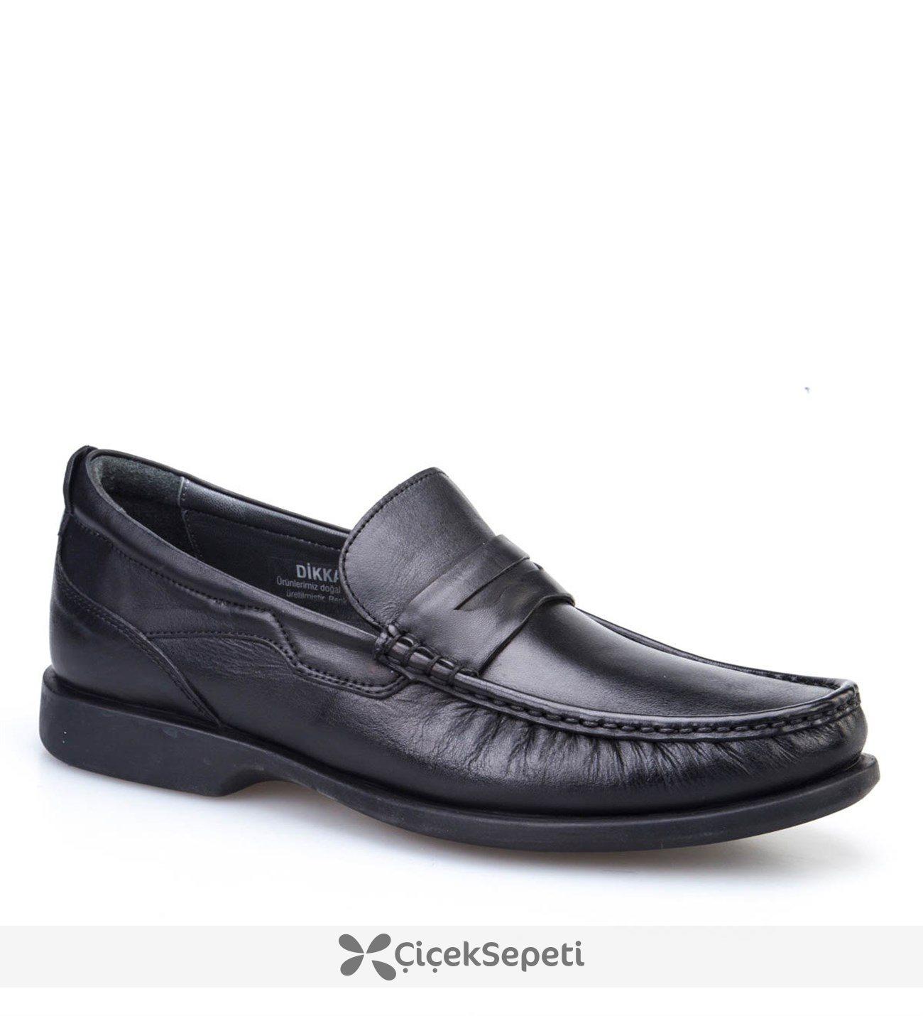 Cabani Şok Emici Tabanlı Günlük Erkek Ayakkabı Siyah Analin Deri