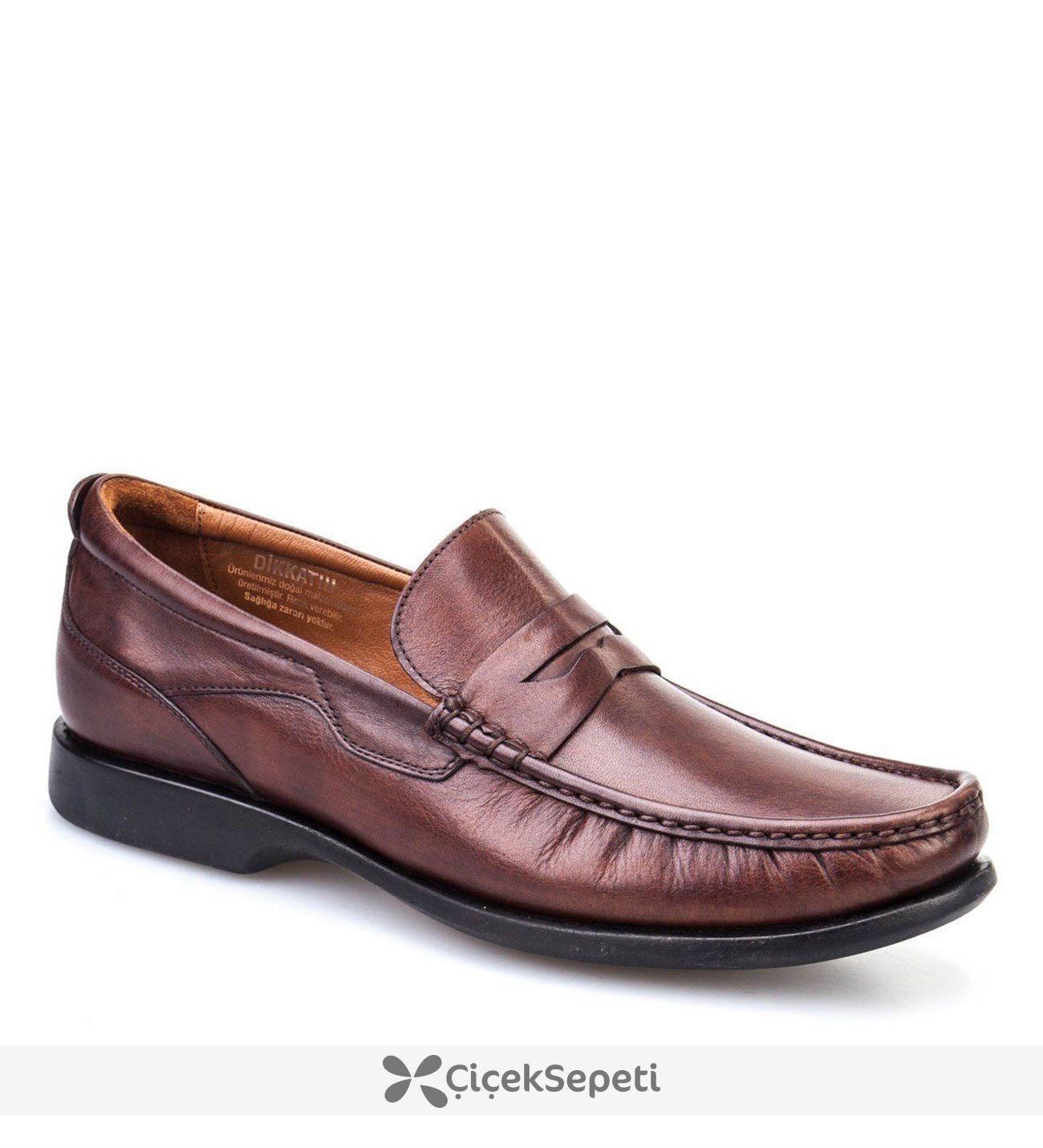 Cabani Şok Emici Tabanlı Günlük Erkek Ayakkabı Taba Deri