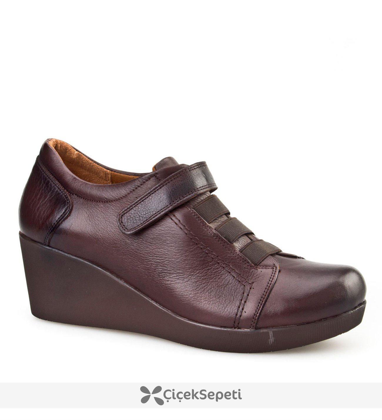 Cabani Dolgu Topuklu Günlük Kadın Ayakkabı Kahve Analin Deri