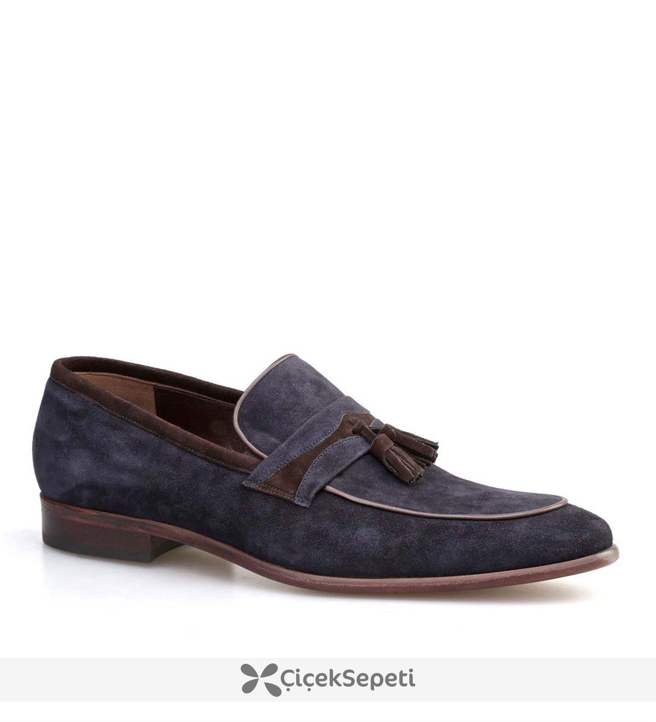 Cabani Püsküllü  Erkek Ayakkabı Lacivert Suet