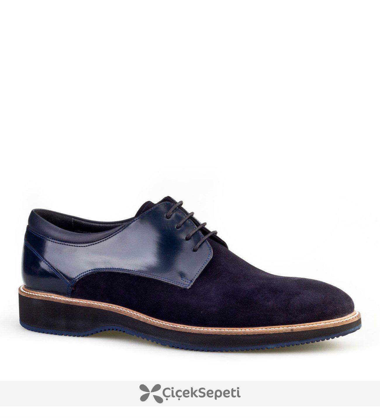 Cabani Bağcıklı Klasik Erkek Ayakkabı Lacivert Suet