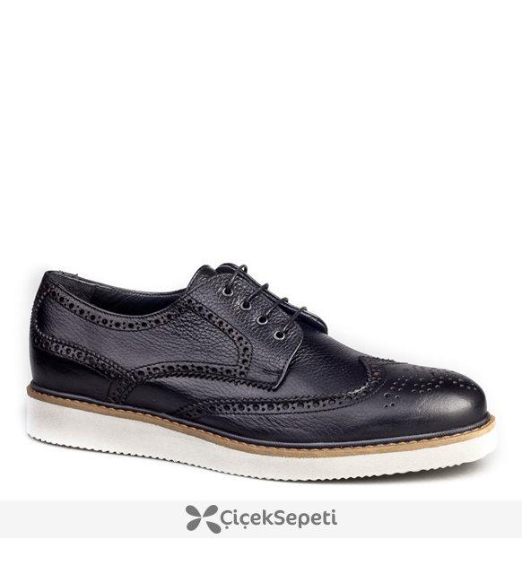 Cabani Oxford Günlük Erkek Ayakkabı Siyah Nata Deri