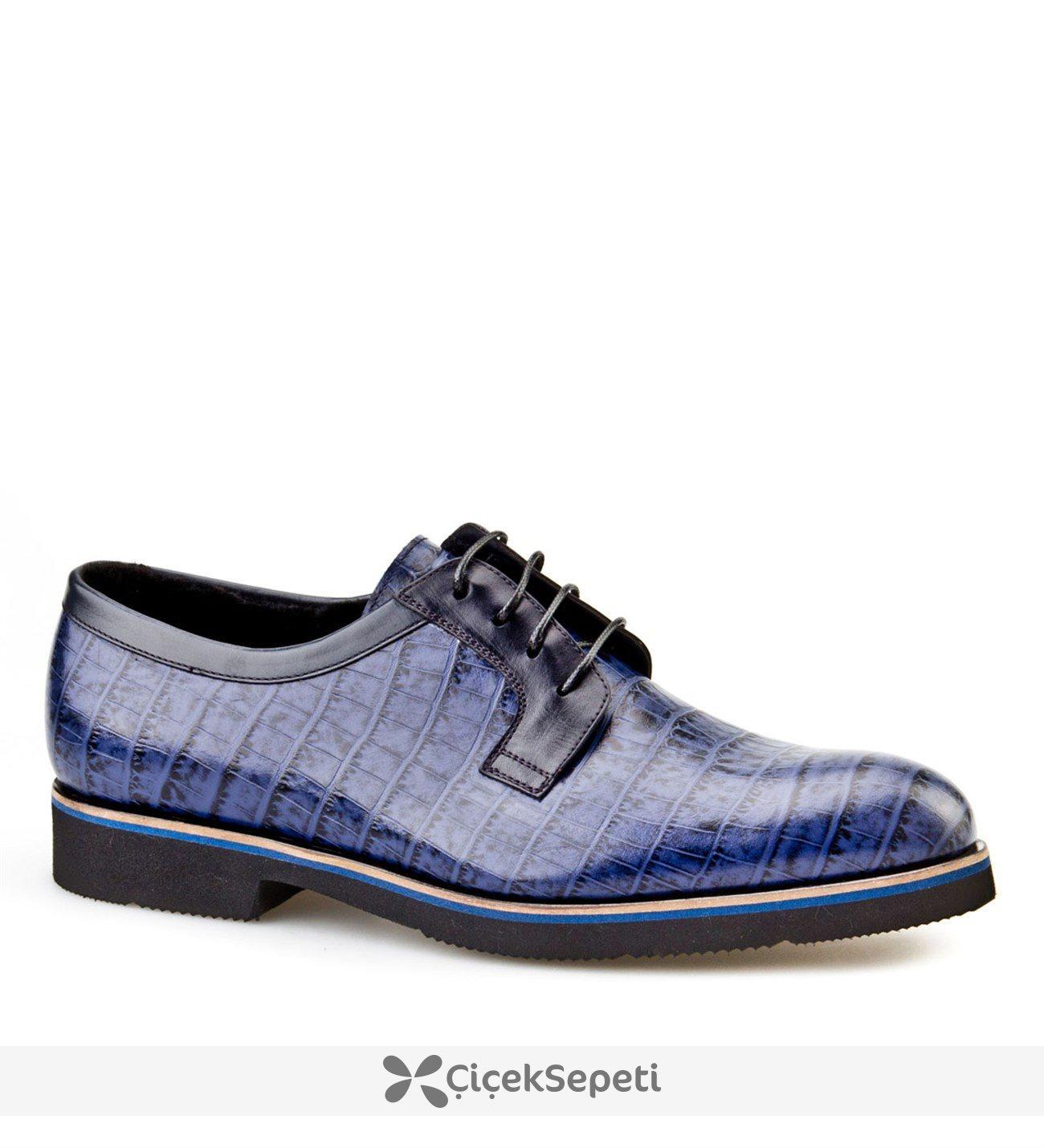 Cabani Kürklü Bağcıklı Klasik Erkek Ayakkabı Lacivert Croco Deri
