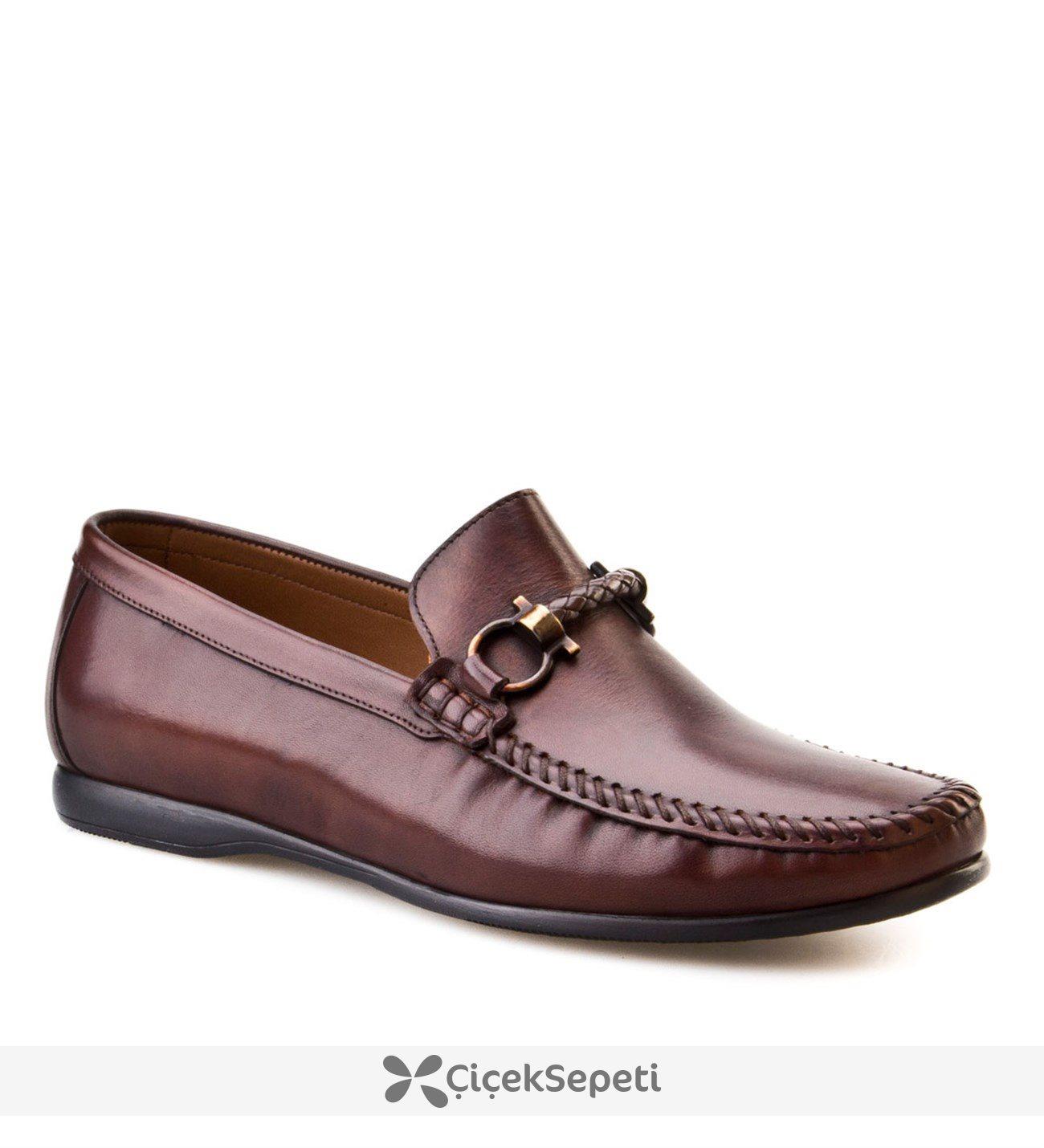 Cabani Lazerli Makosen Günlük Erkek Ayakkabı Kahve Sanetta Deri