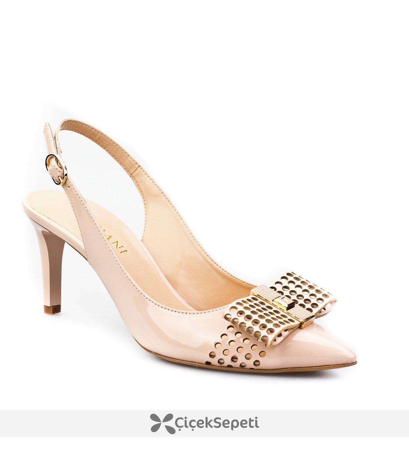 Cabani Fiyonklu Stiletto Günlük Kadın Ayakkabı Pudra Rugan