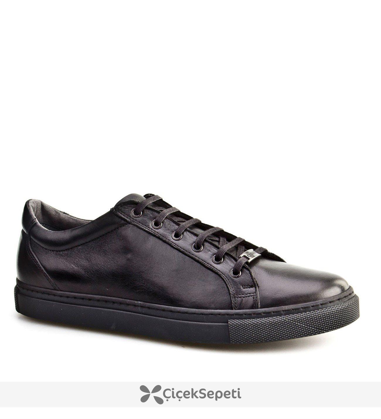 Cabani Bağcıklı Sneaker Günlük Erkek Ayakkabı Bordo Deri
