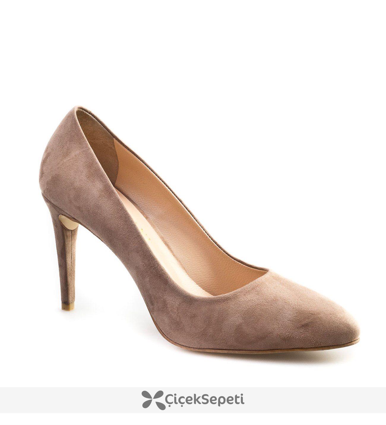 Cabani Stiletto Günlük Kadın Ayakkabı Vizon Suet
