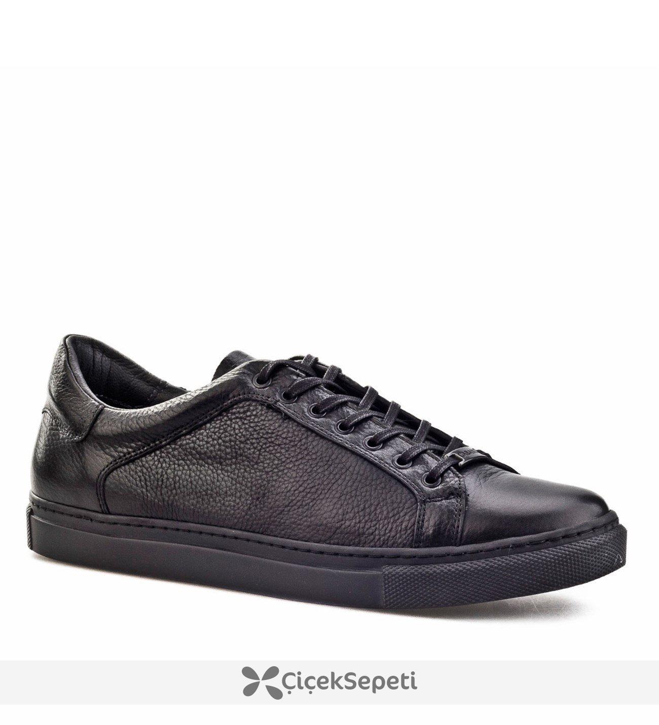 Cabani Bağcıklı Sneaker Erkek Ayakkabı Siyah Naturel Floter Deri