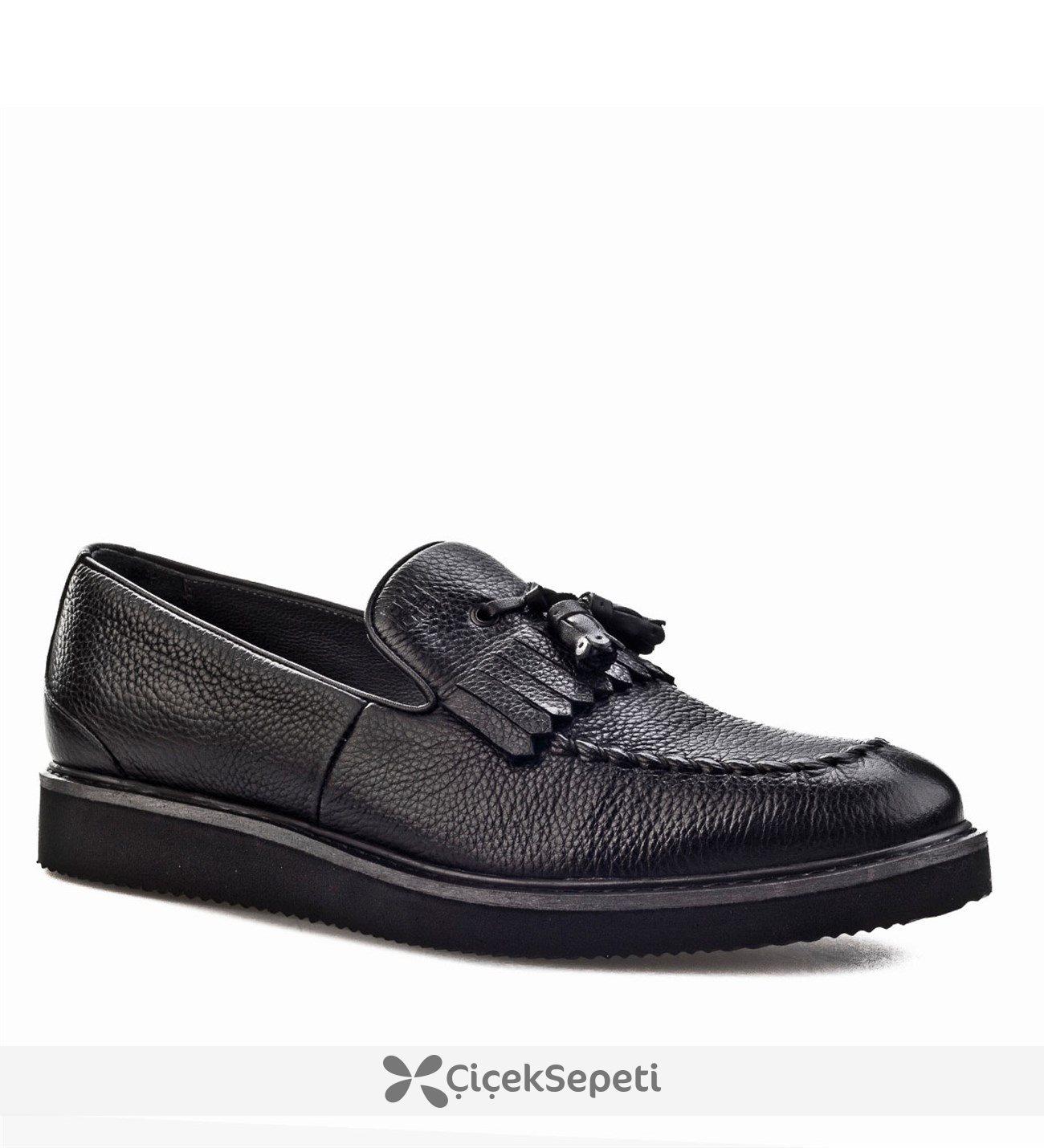 Cabani Fiyonklu Günlük Erkek Ayakkabı Siyah Naturel Floter Deri
