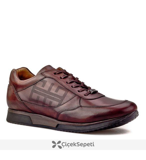 Cabani Lazerli Bağcıklı Günlük Erkek Ayakkabı Kahve Deri