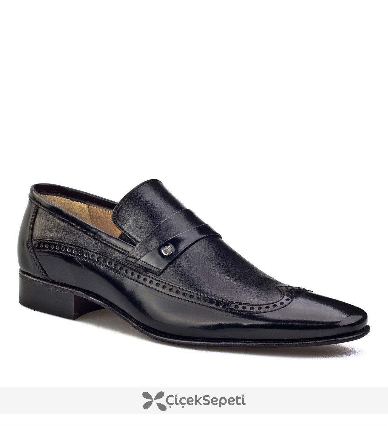Cabani Kemerli Kösele Enjeksiyonlu Klasik Erkek Ayakkabı Siyah Acma Deri