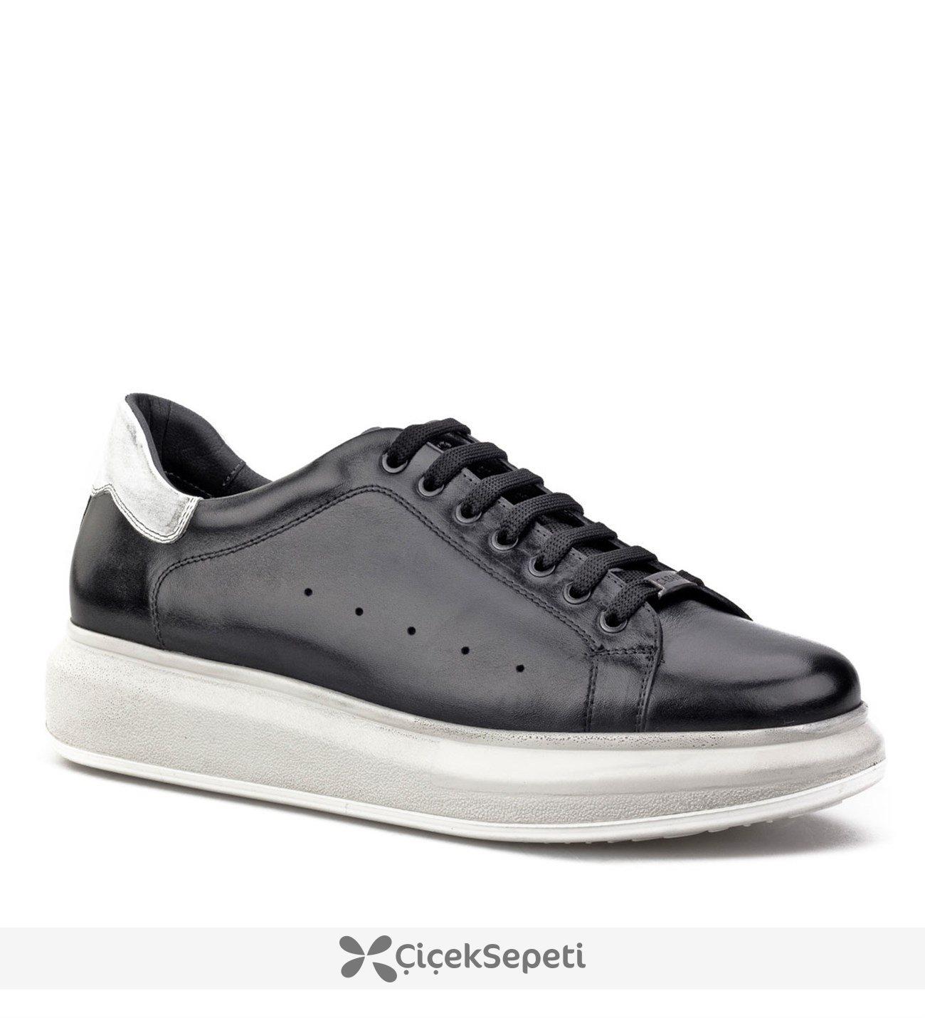 Cabani Yüksek Taban Sneaker Kadın Ayakkabı Siyah Deri