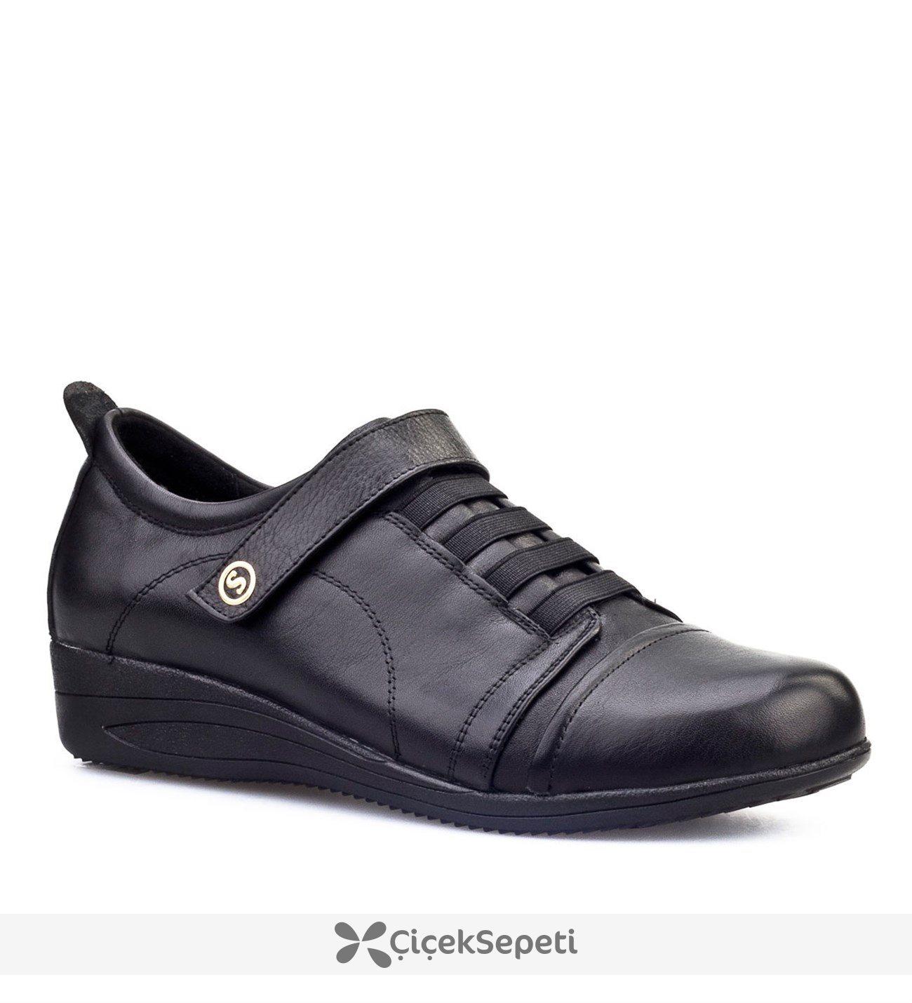 Cabani Çırt Bantlı Günlük Kadın Ayakkabı Siyah Analin Deri