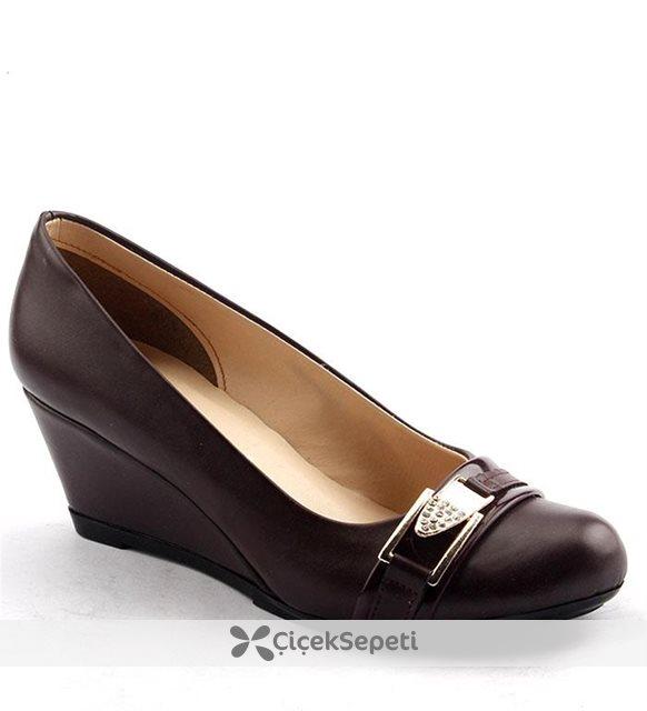 Ayakland 078 Günlük 55 Cm Dolgu Topuk Bayan Babet Ayakkabı