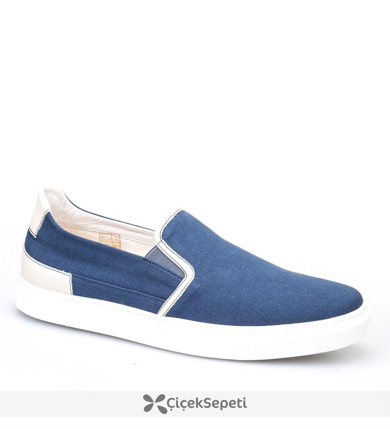 Cabani Bağcıksız Sneaker Erkek Ayakkabı Mavi Keten